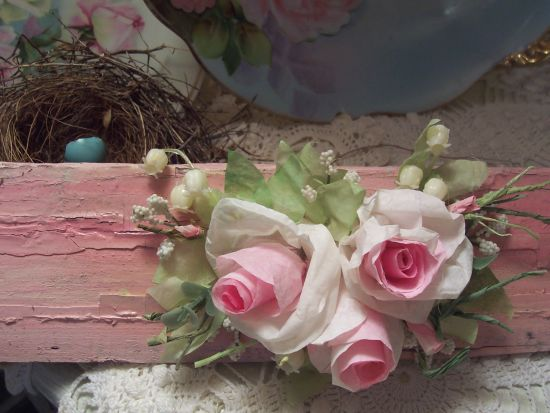 (PRS4) Shabby Chic Paper Rose Wall Decor