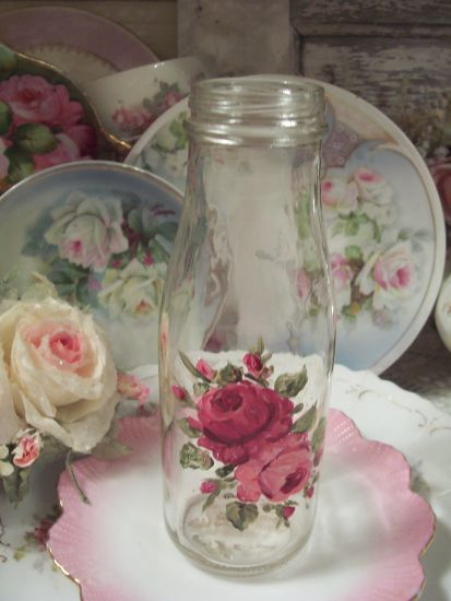(ROSEBOTTLE2) Handpainted Rose Bottle