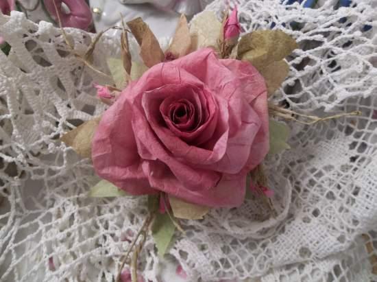 (Elly)  Handmade Paper Rose Clip