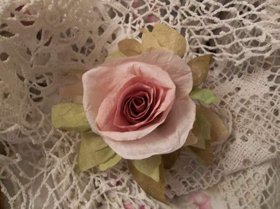 (Miss Judy)  Handmade Paper Rose Clip