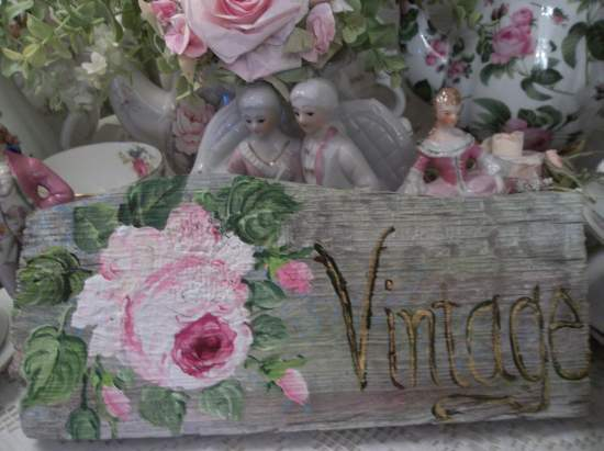 (Vintage Weathered Rose)  Handpainted Sign