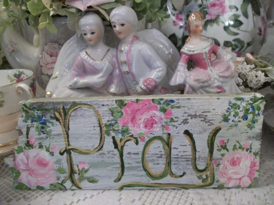 (Forget Me Not To Pray)  Handpainted Sign