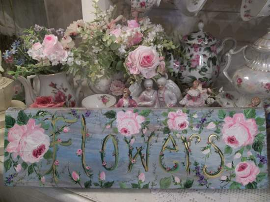 (Flowers of the Past)  Handpainted Sign