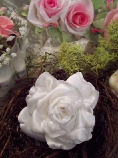 (snow rose pin) Handmade hand sewn satin rose wearable art