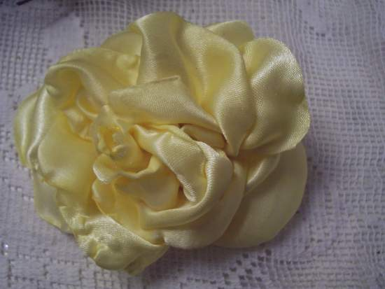 (Lemon Rose Pin) Handmade hand sewn satin rose wearable art