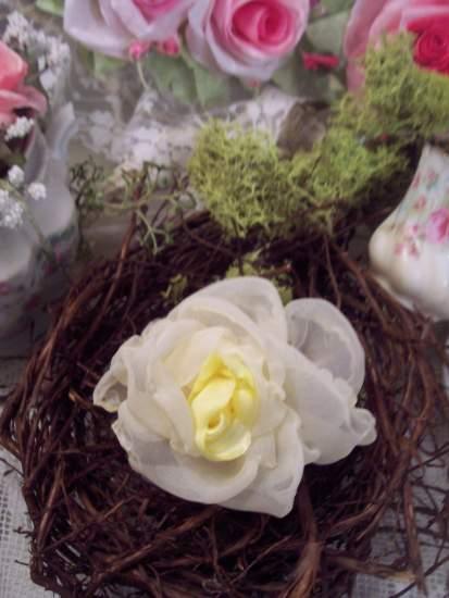 (Lemon Tea Rose Pin)  Handmade hand sewn satin rose wearable art