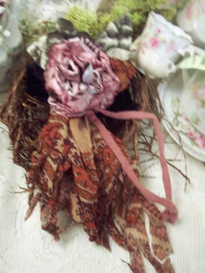 (hippie Rose Boho Pin) Handmade hand sewn satin rose wearable art