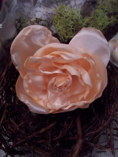 (Peach Cha Cha) Handmade hand sewn satin rose wearable art