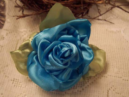 (Blue Rose Pin) Handmade hand sewn satin rose wearable art