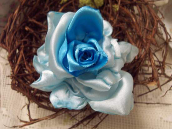 (Skylar Rose Pin) Handmade hand sewn satin rose wearable art