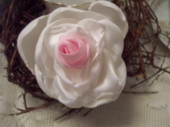 (Bella Pin) Handmade hand sewn satin rose wearable art