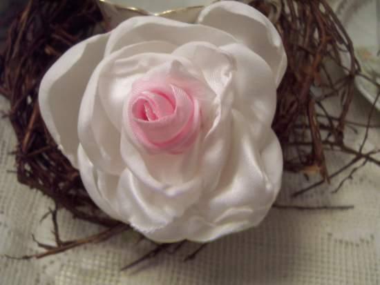 (Bella Pin) Handmade hand sewn satin rose wearable art