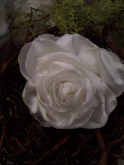(Rose White Pin) Handmade hand sewn satin rose wearable art