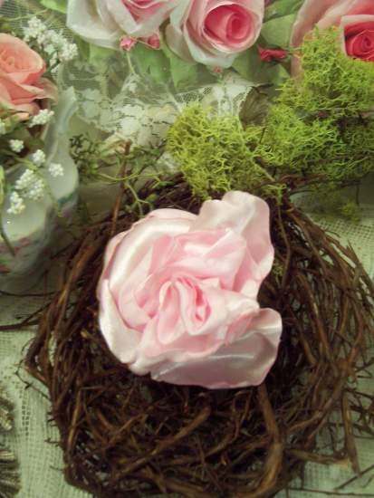 (Pinkie Rose Pin) Handmade hand sewn satin rose wearable art
