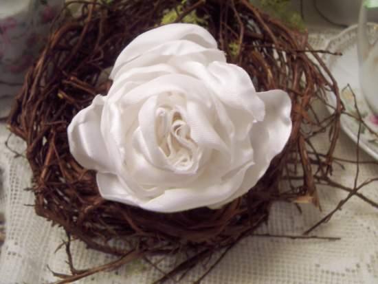 (Rose Cloud Pin) Handmade hand sewn satin rose wearable art