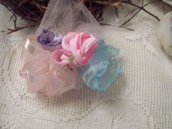(Ballerina Pin) Handmade hand sewn satin rose wearable art