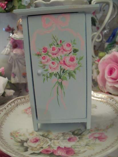 (Doll House Jelly Cupboard) Miniature Dollhouse Furniture Jelly Cupboard Handpainted Pink Roses