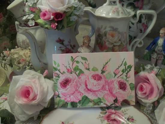 (Trio O Roses) Handpainted Roses original art by Rhonda Motteberg
