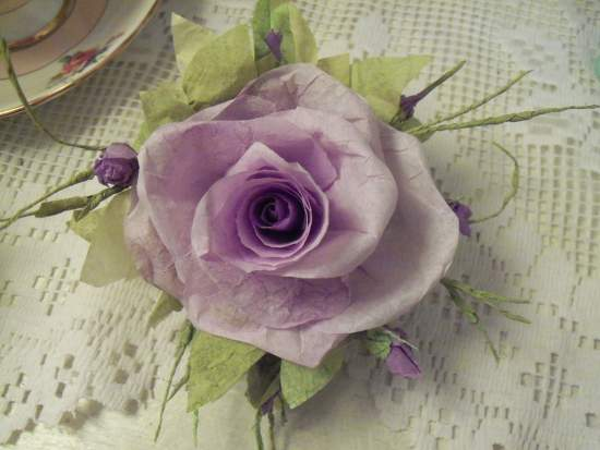 (Darlene) Handmade Paper Rose Clip
