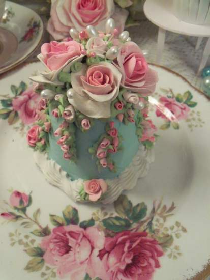 (High Tea And Roses)  Fake Cake Faux Food Rose Decorated