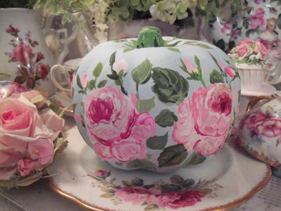 (Clear to Partly Roses)  Handpainted Fake Pumpkin