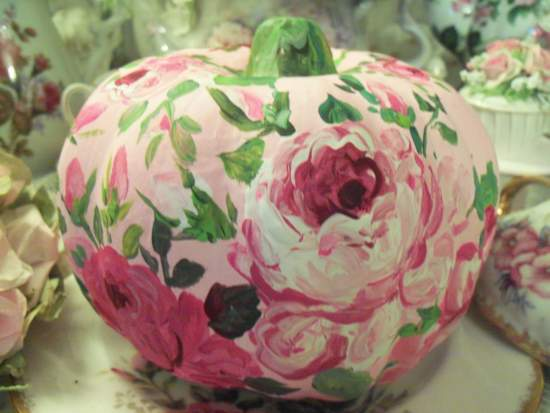 (Roses Dancing In Summer) Handpainted Fake Pumpkin