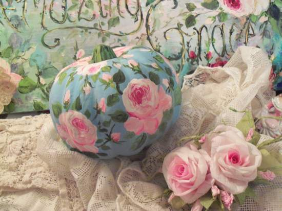 (Pink Rose Pumpkin on Blue) Handpainted Fake Pumpkin