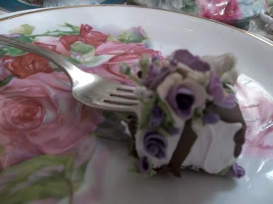 (Eloise Bite Of Cake)  Decorated Vintage Fork, Bite Of Fake Cake