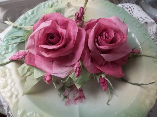(Rosie)  Handmade Paper Rose Clip
