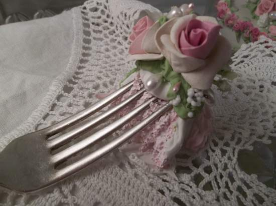 (Matilda) Decorated Vintage Fork, Bite Of Fake Cake