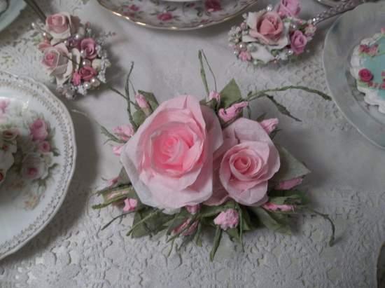 (Beautiful One) Handmade Paper Rose Clip
