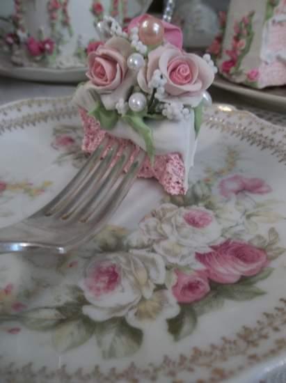 (Chloe) Decorated Vintage Fork, Bite Of Fake Cake