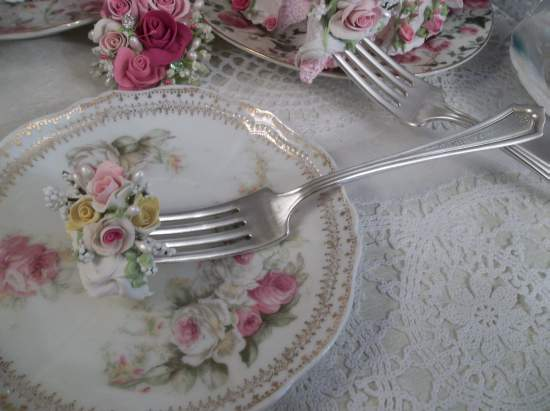 (Abbey) Decorated Vintage Fork, Bite Of Fake Cake