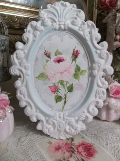 (A Rose and Lace)  Shabby  ornate frame  & original acrylic  painting  of roses  by  Rhonda  Motteberg.