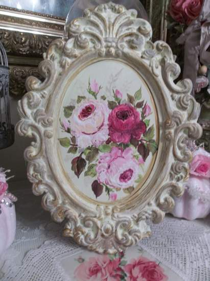 (A Vintage Look) Shabby  ornate frame  & original acrylic  painting  of roses  by  Rhonda  Motteberg.