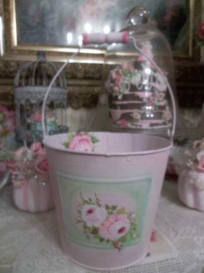 (Sweet Shabby Bucket) Hand painted roses by Rhonda  Motteberg  orginal art  ,chalk painted  & pretty  !