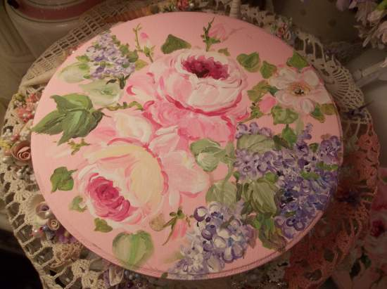 (Lilac And Roses Plaque) Handpainted Sign