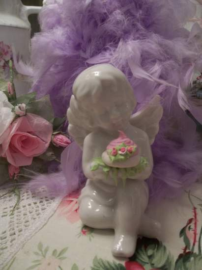 (Angel Cakes) Pretty  ceramic  angel , cupid  holding handmade clay roses ! Victorian , Valentine's Day  , Romantic , decor ., a perfect little angel !