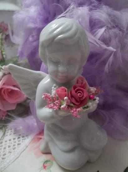 (Fleurdecherub) Ceramic roses  angel cupid romantic Victorian  vintage decor shabby  cottage charm