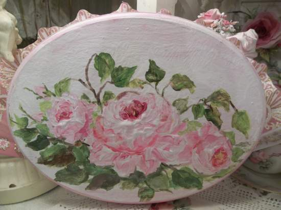 (Oval Roses) Handpainted Plaque