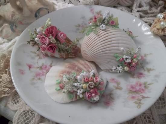 (Decorated Sea Shells) Mini Marvel Decorated  Sea Shells  Beach Decor  Wedding Natural , Pearls , Roses Love Art