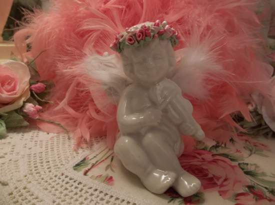 (Rose Halo Angel) Pretty  ceramic  angel , cupid  Decorated With handmade clay roses ! Victorian , Valentine's Day  , Romantic , decor ., a perfect little angel !