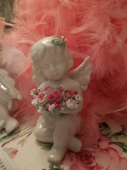 (Heaven's Bouquet) Pretty  ceramic  angel , cupid  Decorated With handmade clay roses ! Victorian , Valentine's Day  , Romantic , decor ., a perfect little angel !