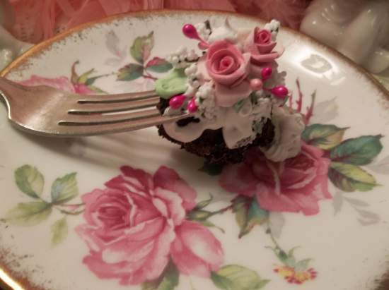 (Chocolate Cake With Mint And Cream) Vintage Fork, Bite Of Fake Cake