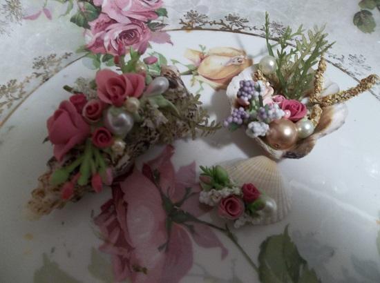 (Under The Sea) Set Of 3 Decorated Seashells