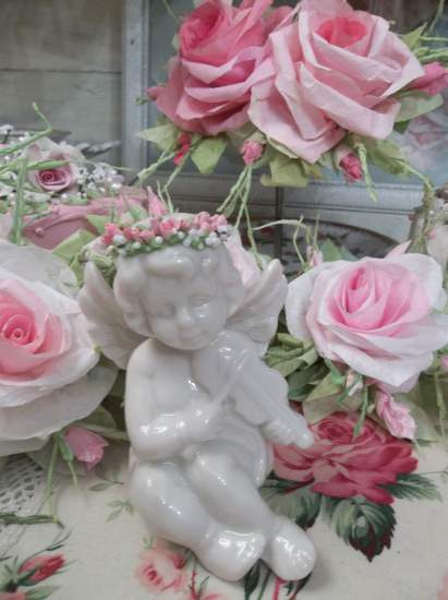 (Davita) Pretty ceramic Angel, Cupid Holding Handmade Clay Roses! Victorian, Valentine's Day, Romantic, Decor., A Perfect Little Angel!