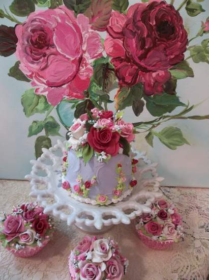 (Summer Rose) Funky Junk Fake Cake