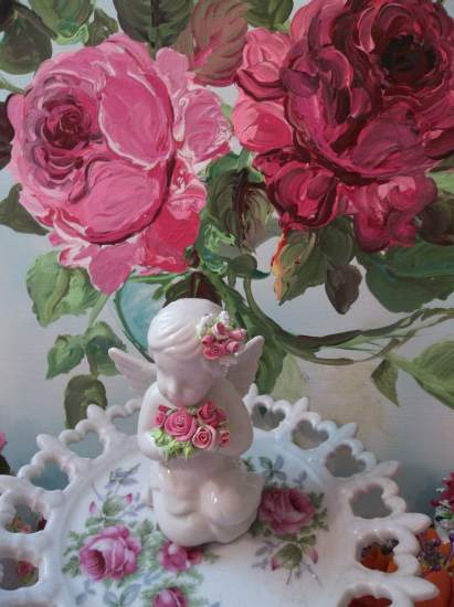 (Charlotte) Pretty ceramic Angel, Cupid Holding Handmade Clay Roses! Victorian, Valentine's Day, Romantic, Decor., A Perfect Little Angel!