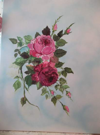 (Eunice Roses) Original acrylic painting by Rhonda Motteberg on stretched Canvas