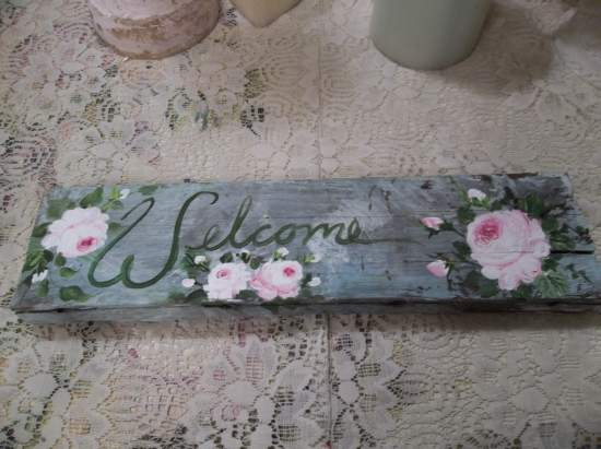 (Weathered Welcome) Handpainted Sign